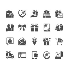 Gift flat icons.