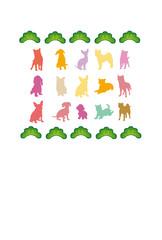 カラフルな犬のメッセージカード