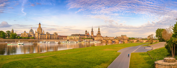 Dresden city skyline panorama at Elbe River and Augustus Bridge, Dresden, Germany