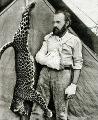 Carl Ethan Akeley (1864 – 1926), pioneering American taxidermist, sculptor, biologist after fight with leopard