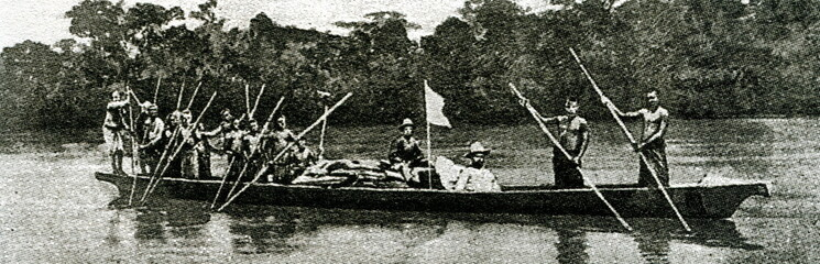 Mary Henrietta Kingsley (1862 – 1900), English ethnographic writer and explorer, canoing up the Ogooué River, Gabon