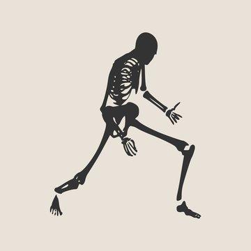 Human skeleton playing on virtual guitar. Vector illustration. Halloween party design template