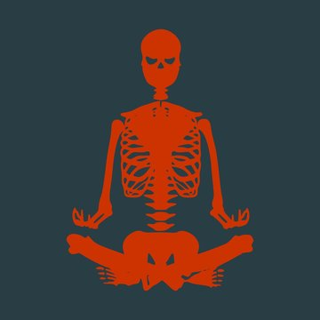 Human skeleton in yoga meditation pose. Front view. Vector illustration. Halloween party design template