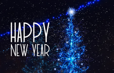 Happy new year card with blue christmas tree