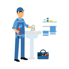 Proffesional plumber character with monkey wrench repairing faucet tap, plumbing service vector Illustration