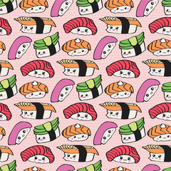 Kawaii sushi vector seamless pattern