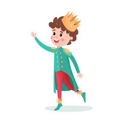 Cute cartoon boy character in prince costume with crown colorful vector Illustration