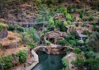 Stone houses of the village Foz de Egua, Portugal