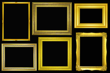 collection of Gold vintage picture and photo frame isolated on black background