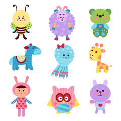Cute cartoon baby toys and animals set of colorful vector Illustrations