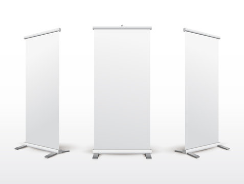 Set of roll up banner stand. Flip Chart for training or promotional presentation. Design template blank pop up banner display template for designers. Vector illustration. Isolated on white background