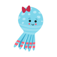 Cute cartoon octopus baby toy, colorful vector Illustration