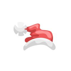 Cartoon style Santa Claus hat icon. Traditional xmas symbol. Vector illustration.