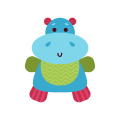 Cute cartoon hippo animal toy, colorful vector Illustration