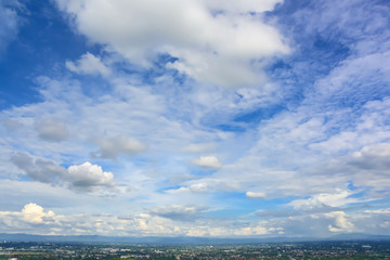 blue sky and clouds over chiang mai  city