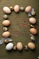 Easter frame made of eggs