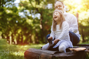 People with down syndrome happy outdoors