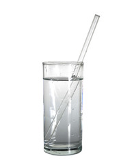 isolated glass of pure water with glass drinking straw. object, beverage.