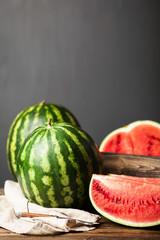Ripe juicy watermelons
