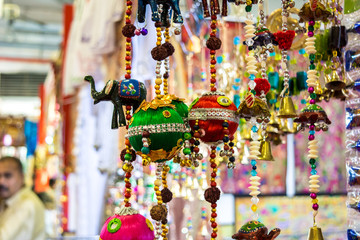 sale of indian souvenirs at the market