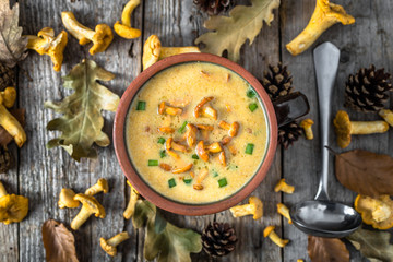 Cream soup - mushroom dish, overhead on wooden background