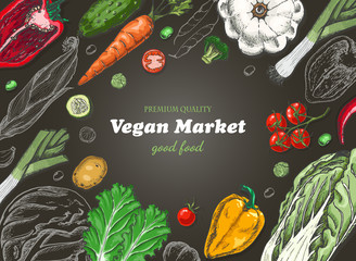 Horizontal background with different vegetables. Organic food