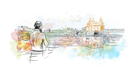 Watercolor sketch of Golden Temple Amritsar India in vector illustration.