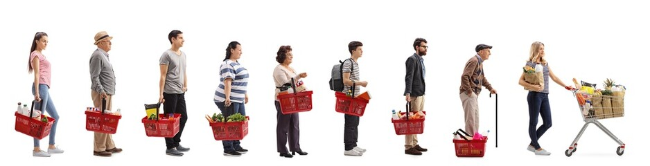 People with groceries waiting in line