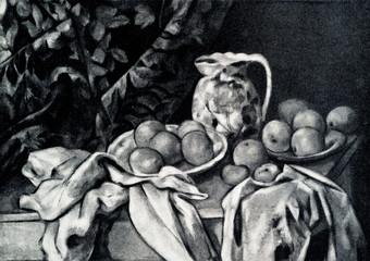 Still Life with a Curtain (Paul Cézanne, 1895)