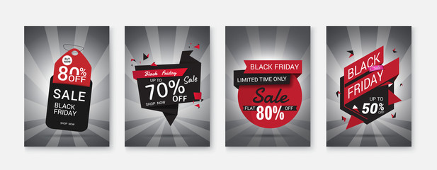 Black Friday sale posters vector.