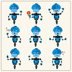 Set emoticon blue robot with different emotions in cartoon style. Collection isolated robots in various poses.