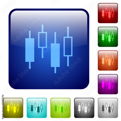 Candlestick Chart Color Square Buttons Stock Image And Royalty Free