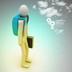 3d person with suitcase with bag