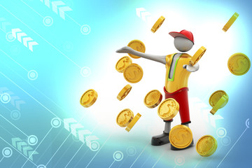 man in the rain of gold coin concept