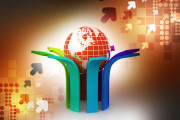 Multi colored arrow with globe
