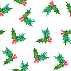 Watercolor seamless pattern with Christmas symbol. Hand painted illustration of holly branches with leaves and berries. New Year texture