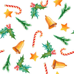 Watercolor seamless pattern with Christmas symbols. Hand painted illustration with holiday fir branches, bells, holly, candy canes and golden stars. New Year texture