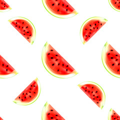 Watermelon slices seamless pattern. Vector illustration of summer fruit isolated on white background. Can be used for printing on textile, pattern fills, textures or gift wrap and wallpapers