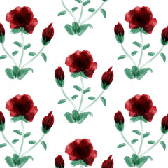 Vector pattern of red flowers made with watercolor brush
