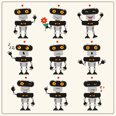 Set emoticon black-gray robot with different emotions. Collection isolated robots in various poses in cartoon style.