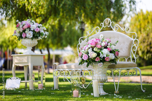 Luxury Furniture Photo Zone In The Garden Decorated Flowers In Vases