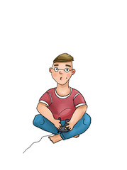 Illustration of a gamer playing video game
