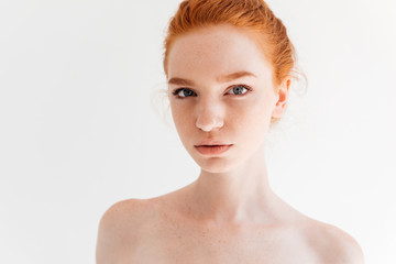 Close up portrait of beauty naked ginger woman