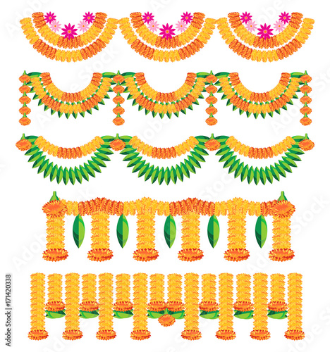 Stock Illustration Of Bunting Known As Toran In Hindi Made Using Colourful Marigold Or