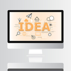 Idea icon on monitor infographic and illustration design
