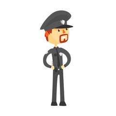 Police officer character wearing uniform cartoon vector Illustration