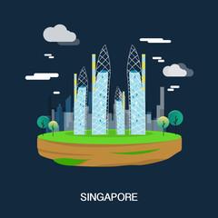 Beautiful buildings in Singapore illustration design.vector