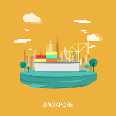 Construction and structure buildings in Singapore on yellow background