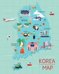 Traveling to korea by landmrks icon map illustration
