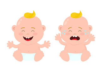 Happy cute laughing smiling and sad baby